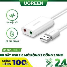 [Nhập ELMAY21 giảm thêm 10% đơn từ 99k] Dây USB 2.0 mở rộng sang đồng thời 2 cổng 3.5mm cho tai nghe + mic, không cần driver UGREEN US205 – Hãng phân phối chính thức