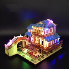 Đồ chơi lắp ráp gỗ 3D Mô hình Nhà cổ Laser BZQ-054 kèm đèn LED