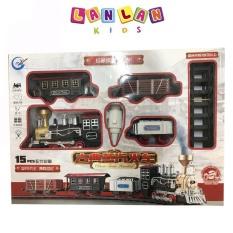 Đồ chơi tàu hỏa chạy pin nhả khói hơi nước,có đèn và âm thanh sống động cho bé có tặng kèm pin