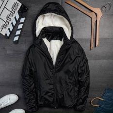 Áo khoác nam lót lông cừu vải dù gió cao cấp chống nước có mũ tháo rời mặc mùa đông siêu ấm, siêu nhẹ chống gió giữ nhiệt