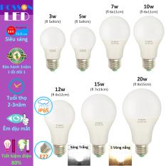 Bóng đèn Led 3w 5w 7w 9w 10w 12w 15w 20w bup tròn bulb kín chống nước Posson LB-H3-20x