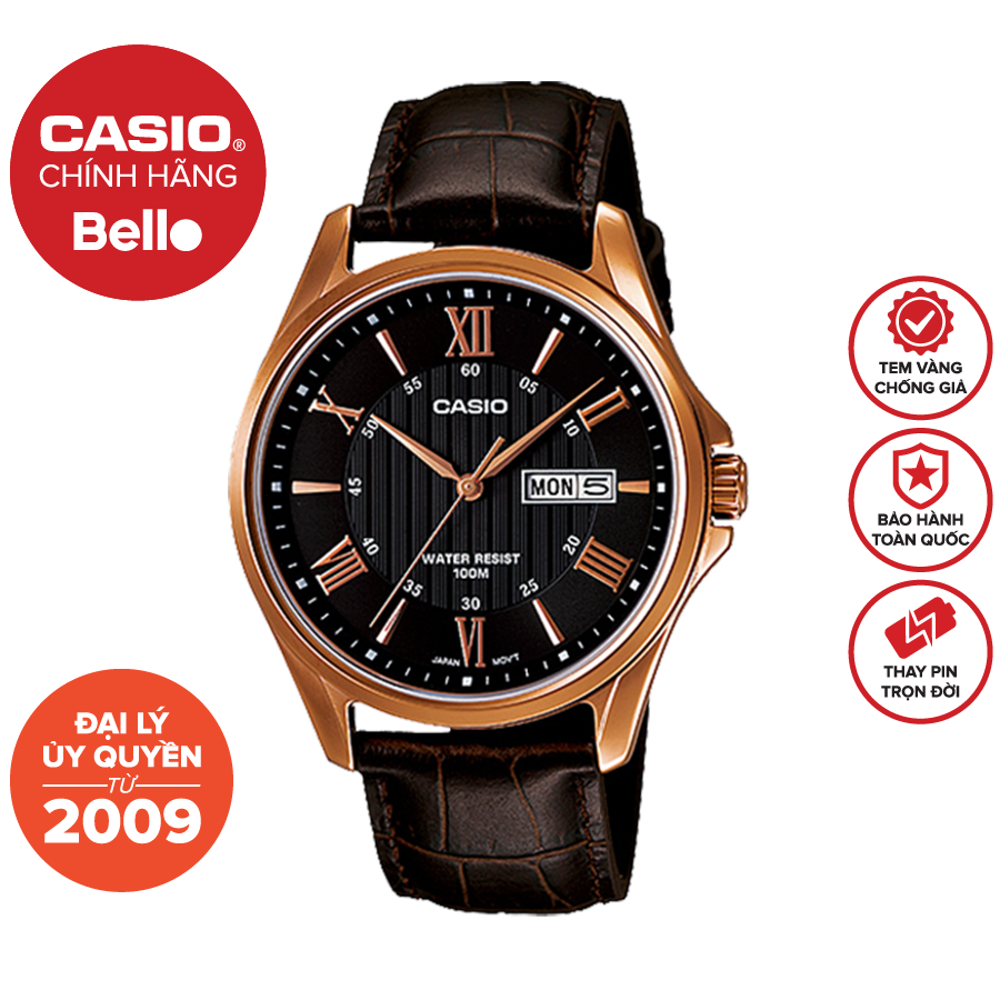 Đồng hồ Casio Nam MTP-1384L-1A bảo hành chính hãng 1 năm – Pin trọn đời