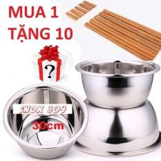 [TẶNG 10 ĐÔI ĐŨA GỖ XỊN ] Thau inox 304 an toàn sức khỏe size 30cm, thau nhà bếp cao cấp, thau inox 304 đẹp -CỰC XỊN
