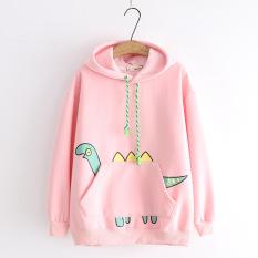 Áo hoodie hình khủng long 3 sừng, Áo khoác hoodie nỉ Khủng long PONGSTORE có 3 màu Trắng Hồng Xanh Đậm