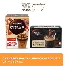 Combo 2 Nescafe: 1 Hộp cà phê đen hòa tan Arabica và Robusta (12 gói x 16g) + 1 Hộp cà phê sữa đá (10 gói x 24 g)