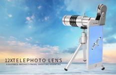 Ống kính zoom xa đa năng 12x Tele Lens Kit cho điện thoại (Bạc)+Tặng tất nam hàng việt nam xuất khẩu