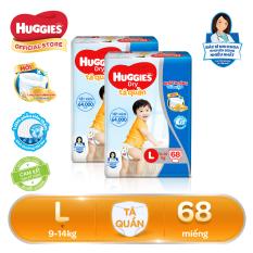 Bộ 2 Tã/bỉm quần Huggies Super Jumbo L68 – Gói 68 miếng (Cho bé 9kg – 14kg)