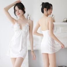 Váy ngủ lụa sexy hai dây phối ren hông gợi cảm Màu Trắng