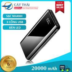 Pin Sạc Dự Phòng K29 20000mah Cát Thái thích hợp dùng cho IPhone và Android, SamSung, Vivo, Xiaomi Sạc nhanh 2A 3 cổng USB 2 đèn LED