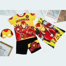 Bộ quần áo siêu nhân người sắt kèm áo choàng và mặt nạ – Đồ hoá trang siêu nhân tay ngắn bé trai TN19