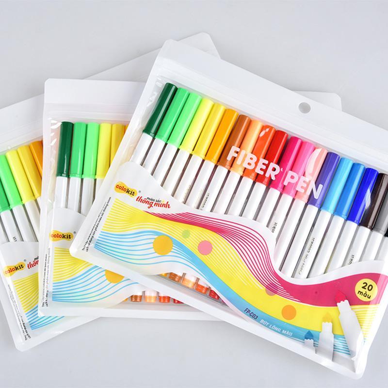 Bút lông màu Fiber Pen Colokit Thiên Long - Bộ 20 màu chuyên viết nét thanh, nét đậm, viết chữ...