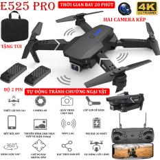 (NEW 2021 – BỘ 2 PIN) – TẶNG TÚI ĐỰNG- Flycam mini E525 PRO 4K hai camera kép, tự động tránh chướng ngại vật ba hướng, thời gian bay 18 phút, có thể zoom, phong to ảnh, chế độ bay không đầu – nhào lộn 360° – BẢO HÀNH 3 THÁNG