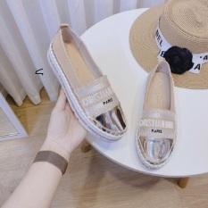 giày lười nữ – giày búp bê nữ – giày bệt nữ – giày slip-on nữ đế độn cao su đúc siêu mềm cao 3cm viền đá ánh kim