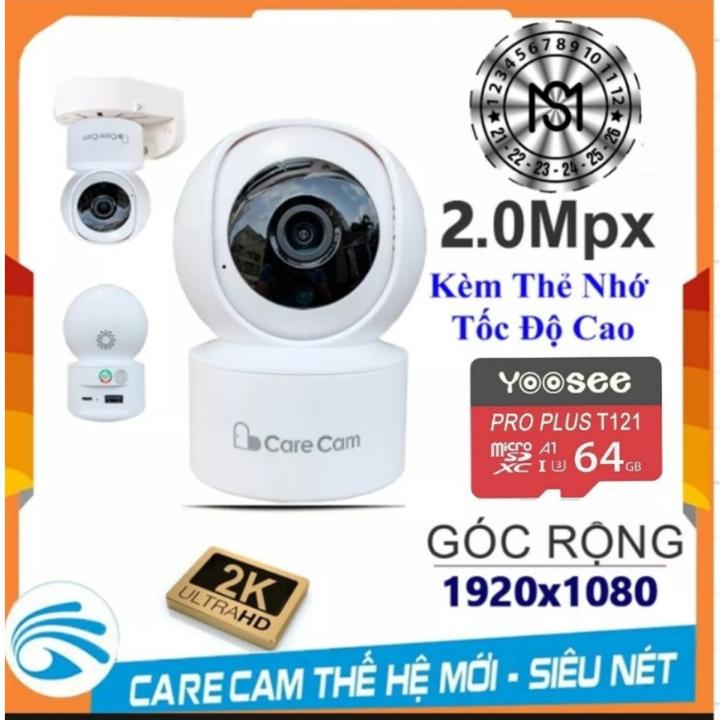 CAMERA WIFI CARECAM YH200 FHD1080 – 2.0Mp XOAY 360 ĐỘ – KÈM THẺ NHỚ 32G/64G [TÙY CHỌN]