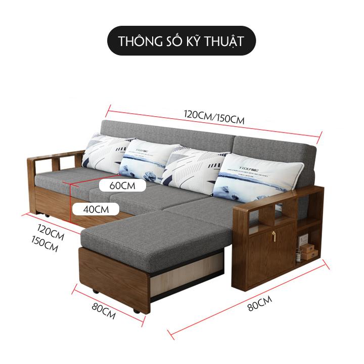 Giường sofa gấp gon tay gỗ khung kim loại sơn tĩnh điện kết hợp tủ đồ rộng rãi kích thước 1m76 x 1m95