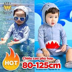 Đồ bơi Cho Trẻ Em, Bé Trai, Em Bé Lớn, Đồ Bơi Nhanh Khô Một Mảnh, Bé Trai, Đồ Bơi Hoạt Hình Cho Trẻ Em, một mảnh tay dài hình cá mập cho bé trai bé gái trẻ em 80~125CM
