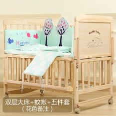 Cũi nôi cho bé – cũi gỗ thông, 2 tầng, có màn, có bánh xe, có thể chuyển thành nôi lắc lư