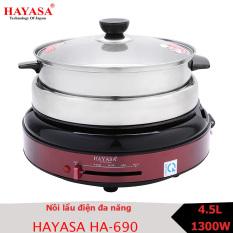Nồi lẩu điện đa năng Hayasa HA-690 với các chức năng nấu lẩu, canh, kho, hấp, nướng, chiên xào