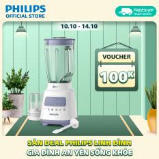 Máy xay sinh tố Philips HR2222/00 (Trắng) -Bộ 2 cối – 5 tốc độ cài đặt sẵn – Nghiền mịn đá, nhanh gấp 2 lần – Hàng phân phối chính hãng