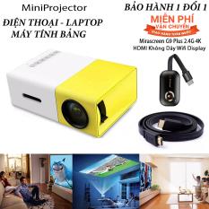 Máy chiếu phim Mini kèm KẾT NỐI KHÔNG DÂY cho điện thoại laptop YG-300 hỗ trợ độ phân giải lên đến 1920 x 1080 pixel dã ngoại, giải trí cho trẻ em Tặng Dây HDMI 1,5 Mét và dây Audio 1,5m
