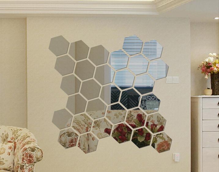 [ HÀNG MỚI ] Gương dán tường, bộ 12 gương dán tường, kích cỡ 8cm x 8cm gương dán tường trang trí phòng, gương trang trí, hình lục giác