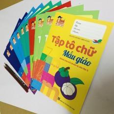 Set 10 sách tập tô chữ viết, chữ số, các nét cơ bản – tập làm toán cho bé vào lớp 1 – tặng kèm 2 bút chì