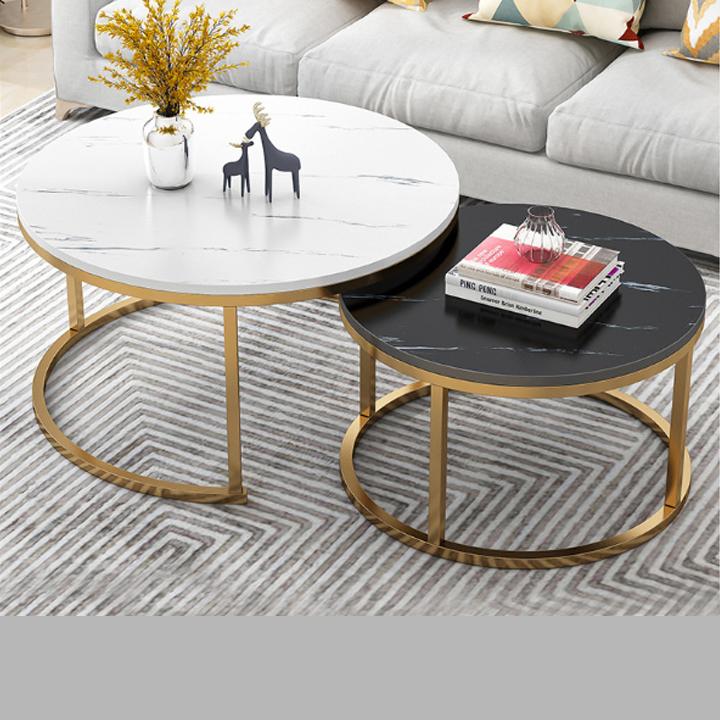 Bộ 2 Bàn sofa – Bàn trà cao cấp – Bàn cà phê hình tròn mặt gỗ vân đá hiện đại trang trí phòng khách, quán trà, cà phê