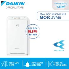 Máy Lọc không khí Daikin [Giảm thêm 10% khi thanh toán thẻ] MC40UVM6 – Phù hợp phòng 31m2 – Công nghệ Streamer độc quyền – Phin lọc tĩnh điện Hepa – Hút gió 3 hướng – Vận hành êm ái – Thiết kế nhỏ gọn – Hàng chính hãng