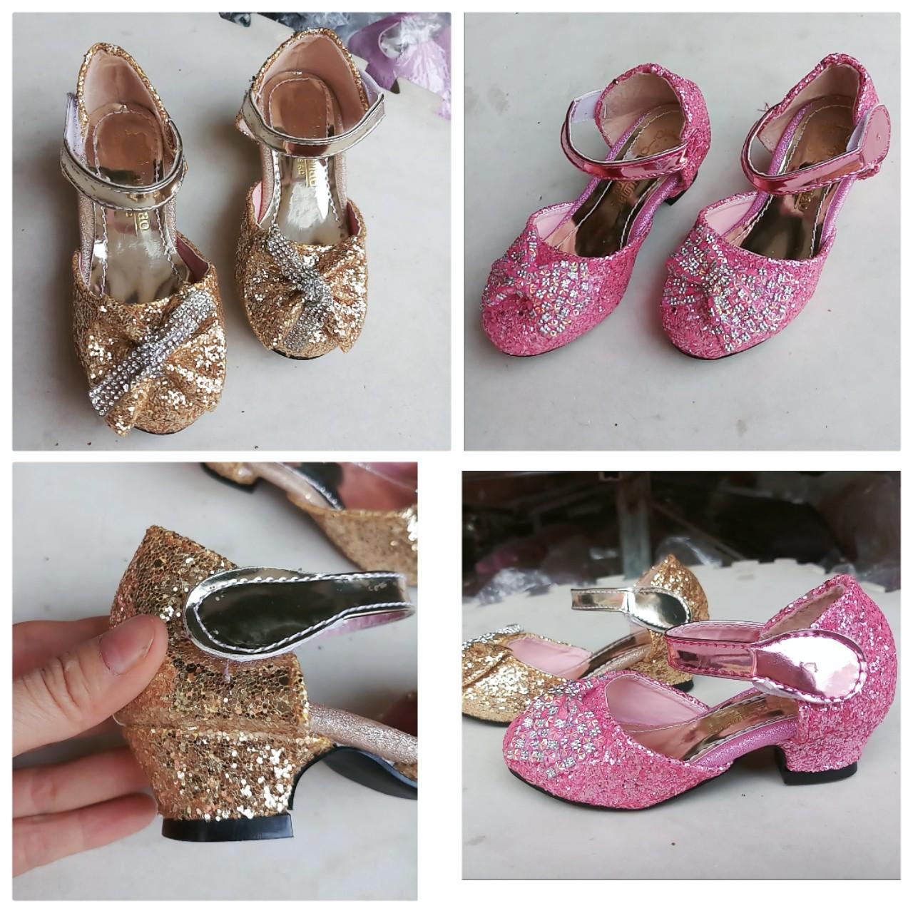 giày bé gái cao 3 phân đính đá siêu xinh
