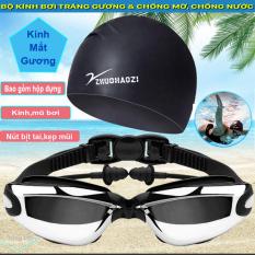 [Combo kính + mũ] Kính bơi người lớn, kính bơi trẻ em có bịt tai, kính bơi tráng gương chống lóa, chống mờ, chống tia UV. Góc nhìn rộng, độ bền cao giúp quan sát rõ ràng đường bơi