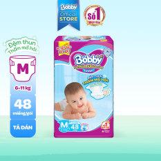Tã/bỉm dán Bobby êm mềm khô thoáng M48 – 48 miếng (6-11kg) – Cam kết HSD trên 10 tháng