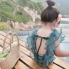 Bikini đồ bơi công chúa đi biển viền ren đính ngọc cực xinh cho bé gái