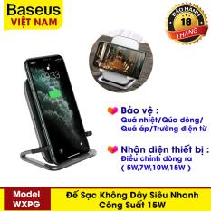 Đế sạc nhanh không dây có giá đỡ thương hiệu Baseus công suất 15W, sạc đứng, nằm ngang hoặc nằm cho Iphone 11 Pro X XS Samsung S10 S9 S8 – Phân phối bởi Baseus Vietnam