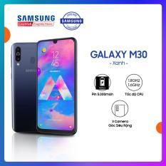 Điện thoại Samsung Galaxy M30 64GB (4GB RAM) Xanh – Hàng phân phối chính thức. Màn hình super amoled, 3 camera sau + siêu pin 5000.