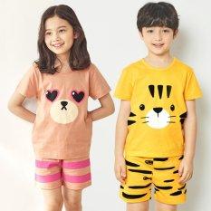 Đồ bộ cộc tay cotton cho bé trai, bé gái mặc mùa hè chính hãng Unifriend Hàn Quốc 2021, Bộ quần áo trẻ em 2-12 tuổi