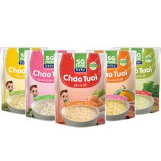 1 Thùng Lốc 5 (54)x 30 gói – Cháo tươi baby SG Food 240g, gà, thịt bằm, bò, lươn, cá hồi (7200gr)