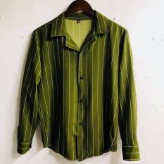 Áo sơ mi lụa cổ vest tay dài phong cách hàn quốc vải dày mịn – Sơ mi sọc Unisex Phang Store