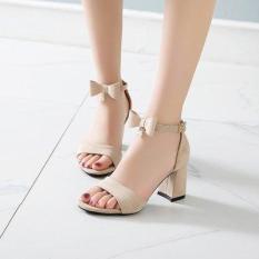 Giày cao gót vuông 7p hở mũi quai nơ 1 hạt châu điệu đà, duyên dáng, trẻ trung, thời trang