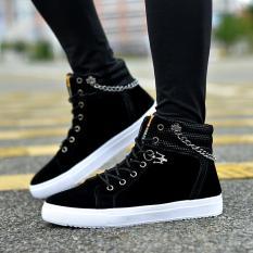 Giày nam cao cổ buộc dây thời trang GY09 đen