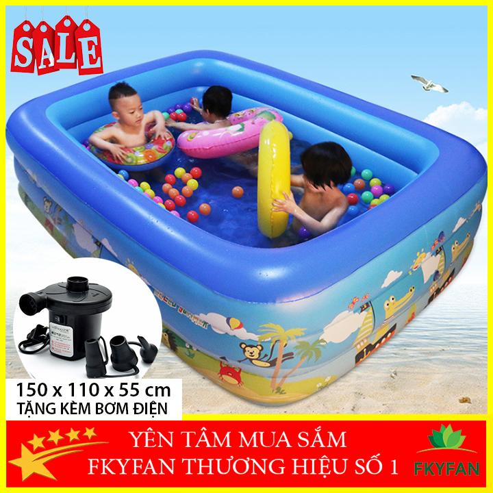 [KÈM BƠM ĐIỆN- LOẠI TỐT 2 ĐÁY CHỐNG TRƠN TRƯỢT] Bể bơi bơm hơi 3 tầng hình chữ nhật dài 1m5 cỡ lớn cho trẻ em và người lớn chơi cùng, bể phao tắm đại dương họa tiết cute cho cả gia đình