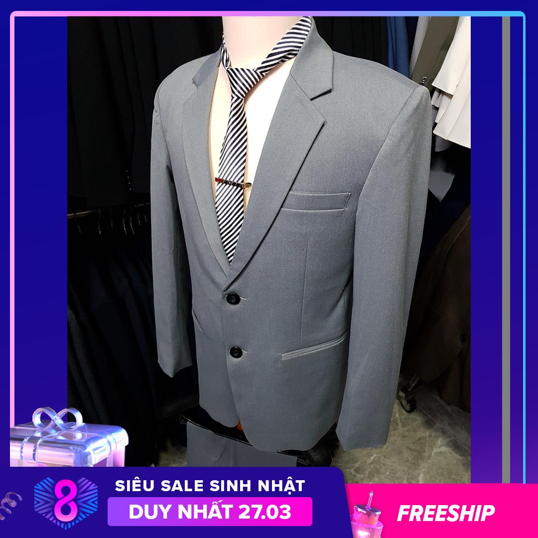 [HCM]Bộ vest nam bác sui kiểu 2 nút màu xám trơn