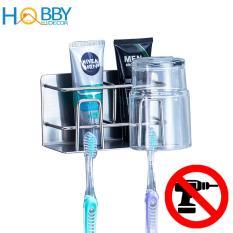 Kệ đựng bàn chải, kem đánh răng 2 ngăn HOBBY CD Inox 304 dán tường gạch men – kèm keo dán