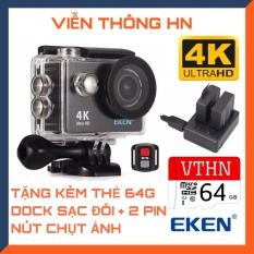 [TẶNG THẺ NHỚ 64GB] Camera 4k Eken h9r bản mới v8 nâng cấp 20mp chống rung chống nước – tặng 1 pin và 1 dock sạc đôi – camera wifi ip xe máy oto phượt chống sốc – camera hành trình phượt mini