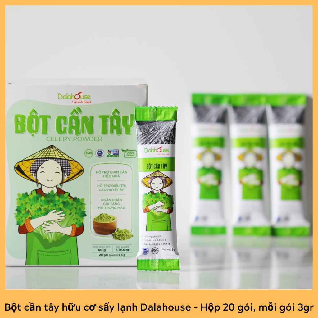 Bột cần tây hữu cơ nguyên chất sấy lạnh Dalahouse – Hộp 20 gói nhỏ 3gr định lượng sẵn cho 1 lần sử dụng – Hỗ trợ giảm cân, cao huyết áp, ngăn chặn gia tăng mỡ trong máu