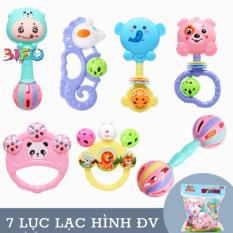 Bộ đồ chơi lục lạc xúc xắc 7 món hình thú ngộ nghĩnh đáng yêu an toan cho bé