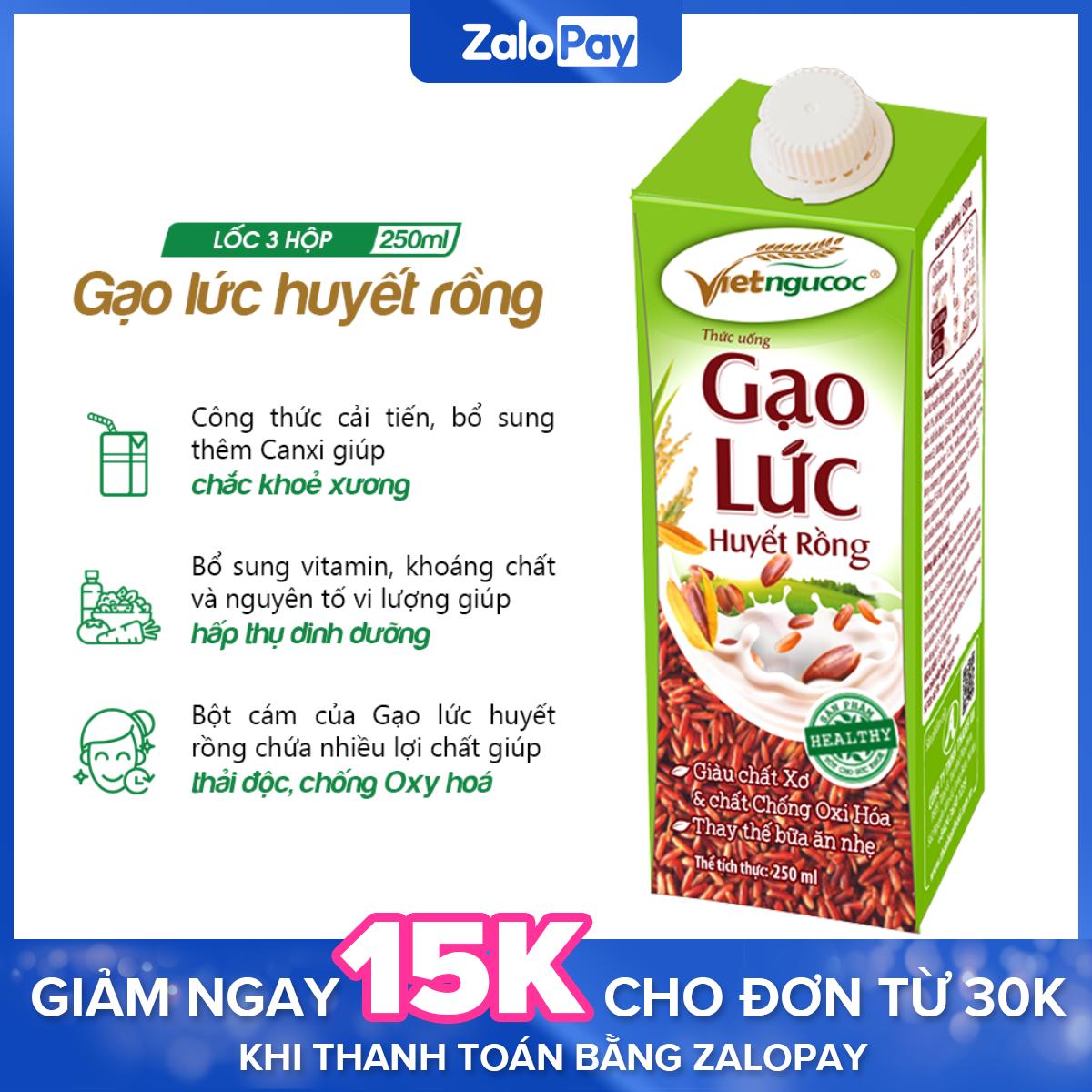 Thức uống Gạo lức huyết rồng Việt Ngũ Cốc lốc 3 hộp 250ml [Date 15.1.2021]