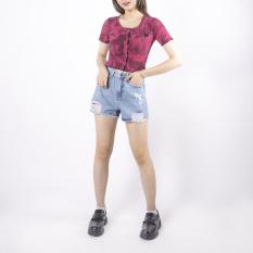 Quần short jean nữ Ulzzang GENZ mẫu rách gấu tua rua thời trang ZWJ023