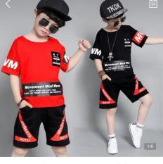 Quần áo trẻ em mùa hè, bộ quần áo bé trai, bộ thun cotton 4 chiều cho bé trai từ 12kg đến 45kg (màu đỏ, đen)