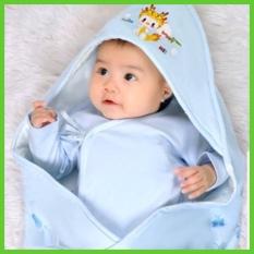 Chăn choàng chăn ủ bé sơ sinh có mũ, chất cotton nhiều màu – C2