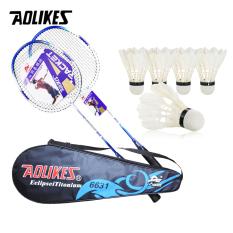 Combo bộ 2 vợt cầu lông AOLIKES A-6631 + hộp 5 quả cầu cao cấp